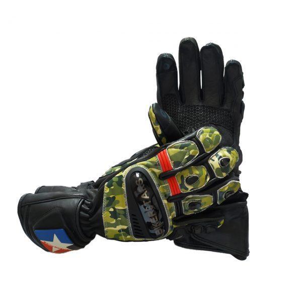 guante camuflado para moto en piel